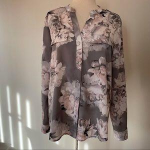 Calvin Klein Floral Blouse Grey/Pink Size L
